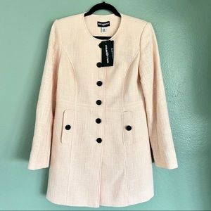 Karl Lagerfeld Pink Tweed Button Front Coat